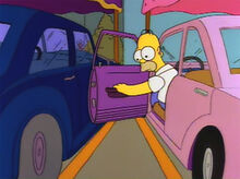Homer risca carro burns