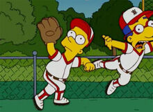 Bart empurra milhouse beisebol