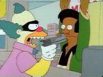 SideShow Bob dressed up like Krusty robbing Kwiki Mart