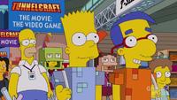 Homer z Bartem i Milhousem na konwencie