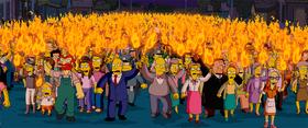 Simpsons angry mob