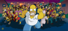 The Simpsons Movie Homer Simpson being chased by Angry Mob