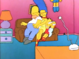 Squashed Bart couch gag
