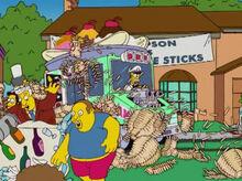 Homer furgão sorvetes destruição