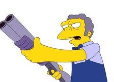 Moe with gun