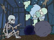 Esqueleto homer submerso jaula saída