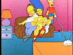 Bart the Genius couch gag (Bart squeezed in the air)