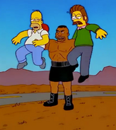 The battered Homer and Ned held up by Tatum