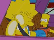 Bart and Lisa in the car