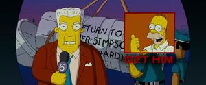 The Simpsons Movie Kent Brockman ordering everyone in Springfield to get Homer