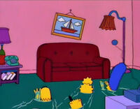 The Living Room Floor Is A Shallow Body Of Water, And The Simpsons Swim  Their Way To The Couch. Once On The Couch, Bart Removes His Scuba Mask And  Homer ...