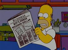 Homer jornal ruim bart dolar
