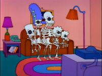 The Simpsons Are Now Skeletons Who Rush To Couch And Sit As Normal This Is Based On Promotional Poster For Treehouse Of Horror Ii