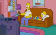 Homer, Bart and Rabbit watching TV