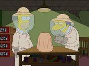 Homer i Moe jako pszczelarze