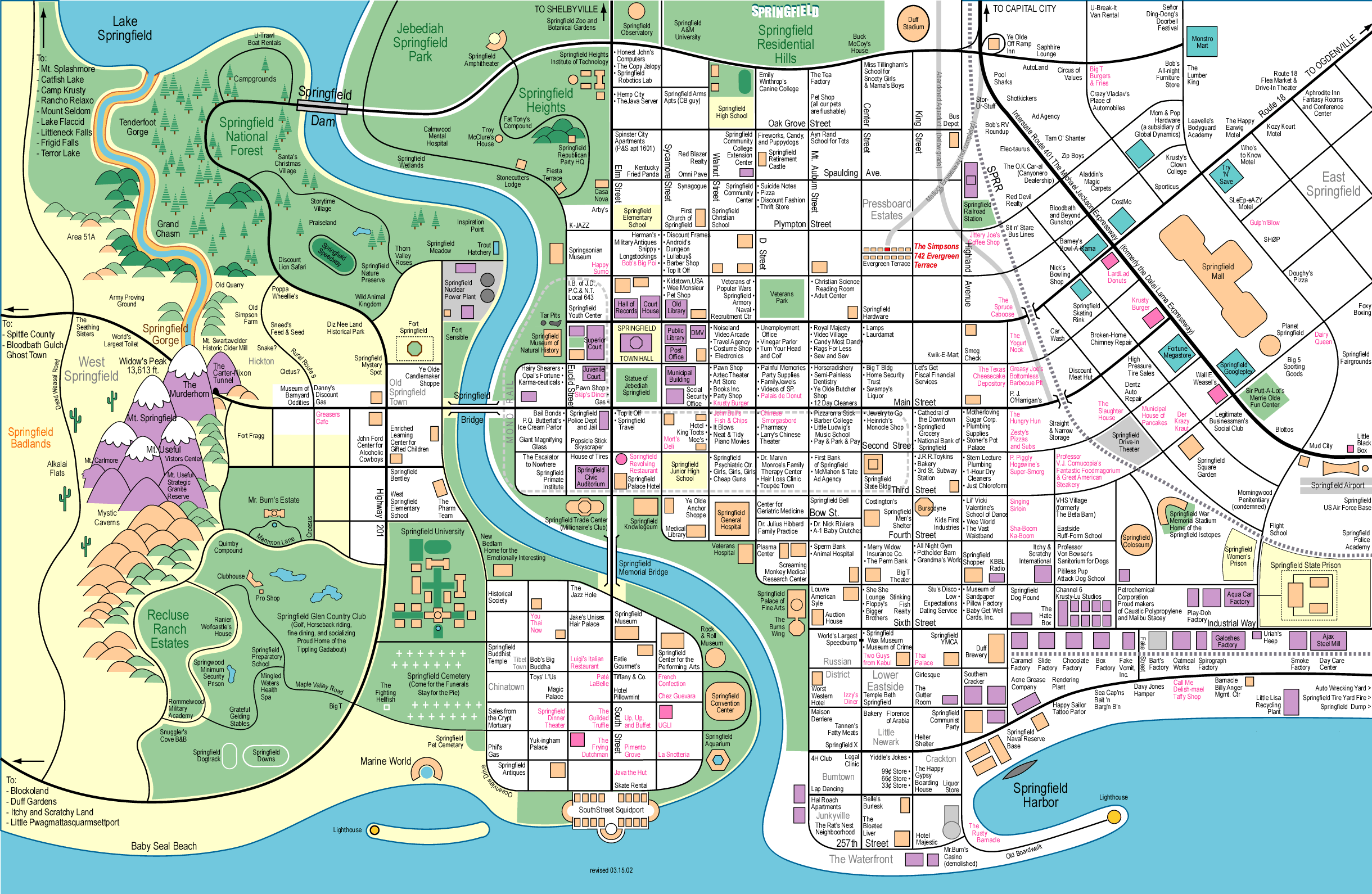 Image Map of Springfieldpng Simpsons Wiki FANDOM powered by Wikia