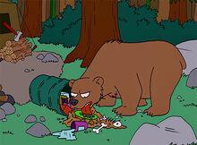 Urso virando lixo