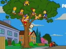 Crianças árvore willie trator
