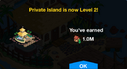 Private Island Level 2 Upgrade Screen