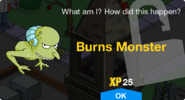 Burns Monster Unlock Screen