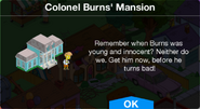Colonel Burns' Mansion Event Notification