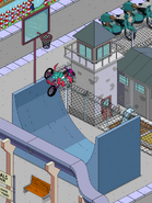 Poochie Dunking a Basketball at the Bicycle Basketball Ramp2