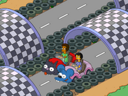 Injury 500 Long Track with Itchy & Scratchy Cars