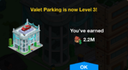 Valet Parking Level 3 Upgrade Screen