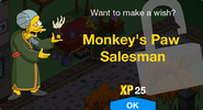 Monkey's Paw Salesman Unlock Screen