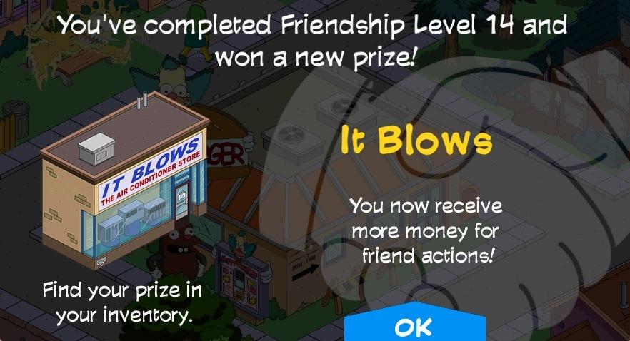 Simpsons friend level prizes
