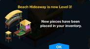 Beach Hideaway Level 3 Upgrade Screen