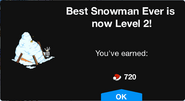 Best Snowman Ever Level 2 Upgrade Screen