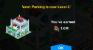 Valet Parking Level 2 Upgrade Screen