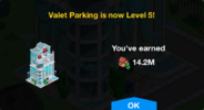 Valet Parking Level 5 Upgrade Screen