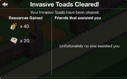 Invasive Toads Cleared no one assisted
