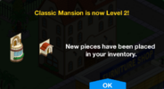 Classic Mansion Level 2 Upgrade Screen