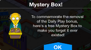 Daily Play removal Mystery Box