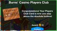 Players Club Card Level up 2 message