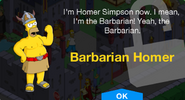 Barbarian Homer Unlock Screen