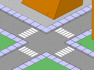 Four Crossings in front of Itchy & Scratchy Land Gate