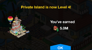 Private Island Level 4 Upgrade Screen