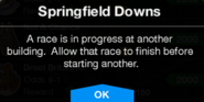 Springfield Downs ongoing race message