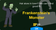Frankenstein's Monster Unlock Screen