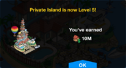 Private Island Level 5 Upgrade Screen