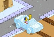 Bart & Milhouse Driving the Snow Mobile (2)