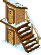 Two-Story Outhouse Flipped Snow Menu