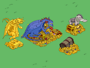 Burns Dragon Active at the Pile of Treasure with Prizes
