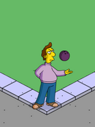 Jacques Performing Bowling Ball Tricks