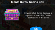Monte Burns' Casino Mystery Box Notification