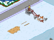 Ms. Claws Driving the Cat Sleigh over the empty spot in winter
